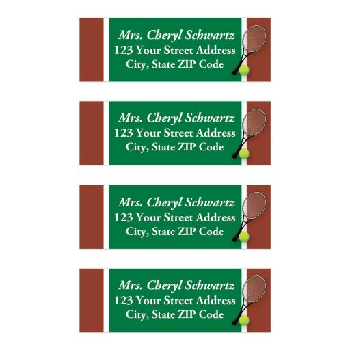 Great tennis Bar Mitzvah return address labels in green, brown and white with a tennis racket and a yellow tennis ball.