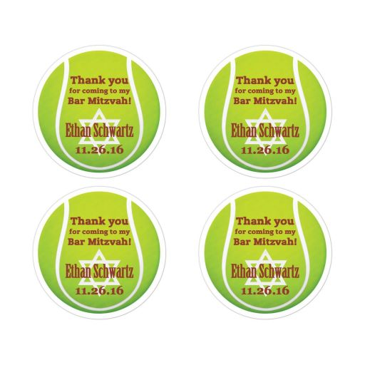 "Great ​2"" round personalized yellow and green Bar Mitzvah tennis ball party favor stickers with Jewish Star of David."