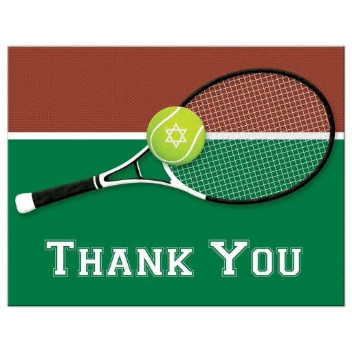 Great affordable tennis theme Bar Mitzvah or Bat Mitzvah thank you card with tennis ball, tennis racket and green, brown and white colors of a tennis court.