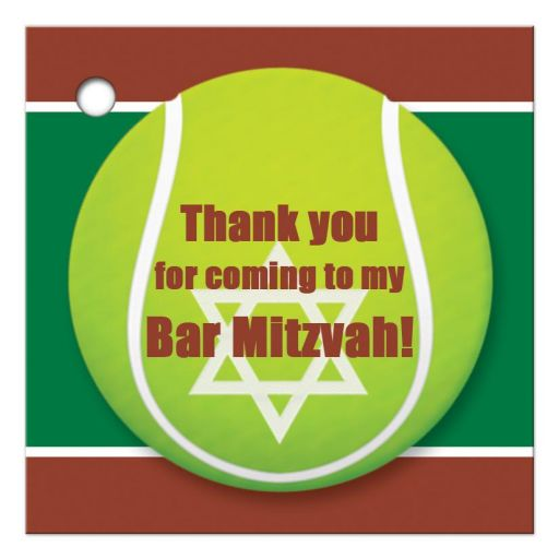 ​Best affordable tennis theme Bar Mitzvah or Bat Mitzvah thank you tag with tennis ball and green, brown and white colors of a tennis court.
