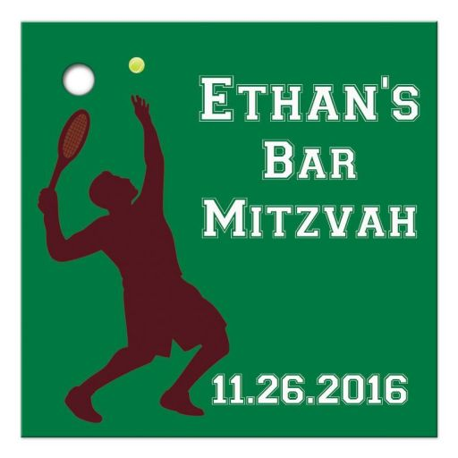 ​Best affordable tennis theme Bar Mitzvah thank you favor tag with tennis player and green, brown and white colors of a tennis court.