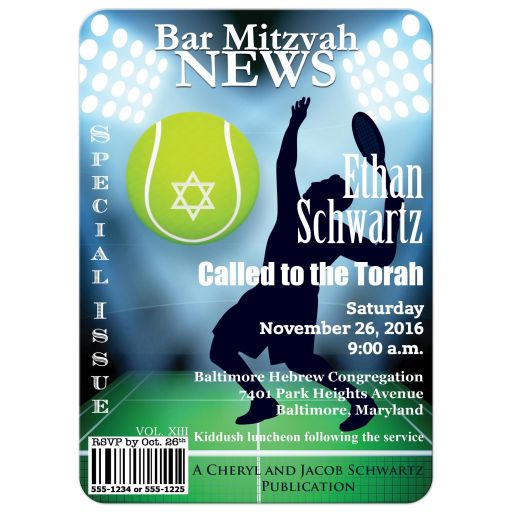 Great sports magazine cover style bar mitzvah invitation for tennis players