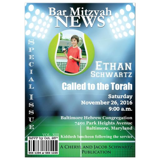 ​Affordable sports magazine cover style bar mitzvah or bat mitzvah invitation for a tennis player with photo template.