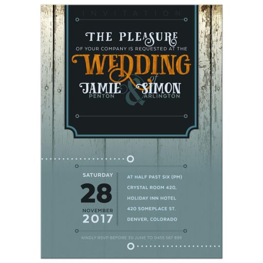 Urban Hipster Wedding Invitation | Teal Timber