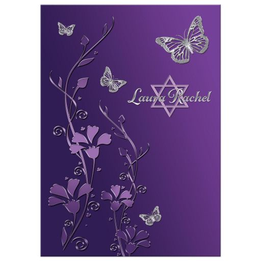 Best purple and gray floral Bat Mitzvah invite with silver butterflies and Jewish Star of David on it.