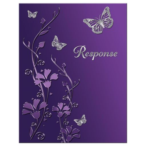 Best purple and gray floral Bat Mitzvah response card or enclosure card with silver butterflies on it.