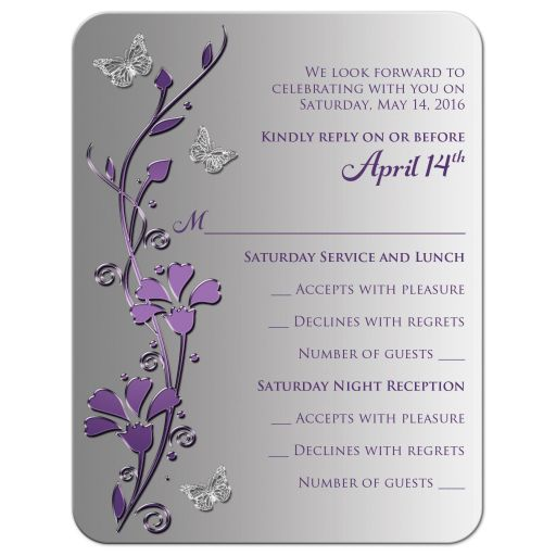 Great purple and gray floral Bat Mitzvah rsvp card or enclosure card with silver butterflies on it.