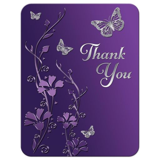 Great purple and gray floral Bat Mitzvah thank you card with silver butterflies on it.