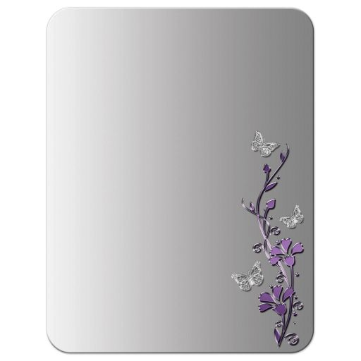​Best purple and gray floral Bat Mitzvah thank you card with silver butterflies on it.