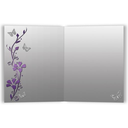 Best purple and gray floral Bat Mitzvah thank you card with silver butterflies.