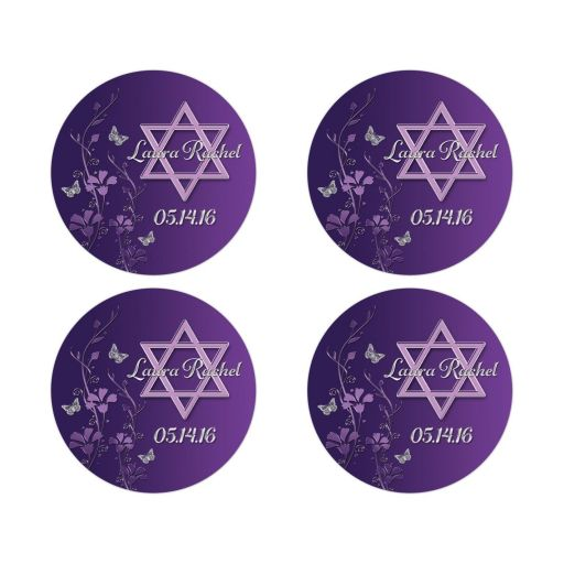 Best personalized purple and gray floral Bat Mitzvah favor stickers or envelope seals with silver butterflies and Jewish Star of David on it.