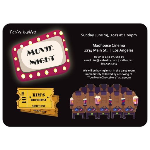 Cute Movie Night Marquee Birthday Party Invitation