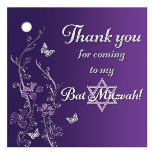 """Great 2.5"""" Square purple and gray floral Bat Mitzvah favor tag with silver butterflies and Jewish Star of David on it."""