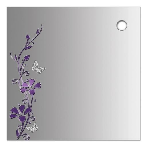 """Best 2.5"""" Square purple and gray floral Bat Mitzvah favor tag with silver butterflies and Jewish Star of David on it."""