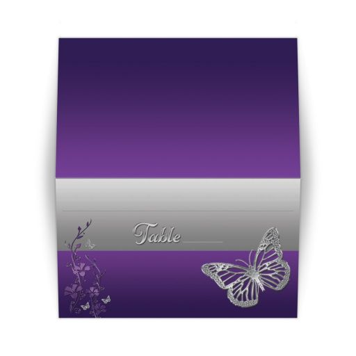 ​Best purple and gray floral Bat Mitzvah place cards or escort cards with silver butterflies.