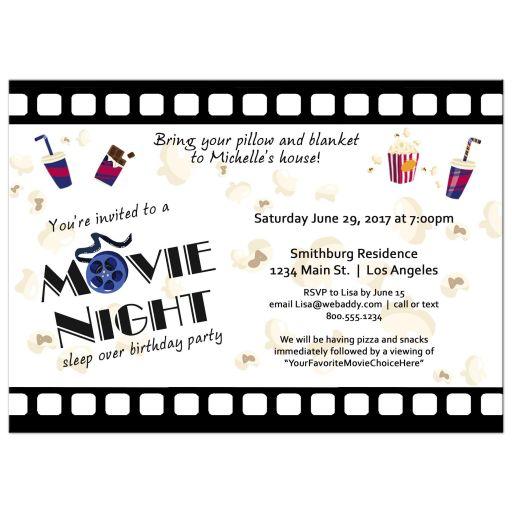 Filmstrip Movie Night Sleepover Birthday Party Invitation