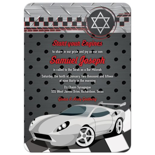 Red, grey, black and white race car car racing Bar Mitzvah invitation front