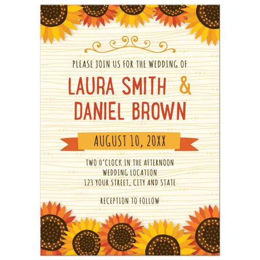 Whimsical sunflowers on abstract wood grain background cute floral wedding invitation