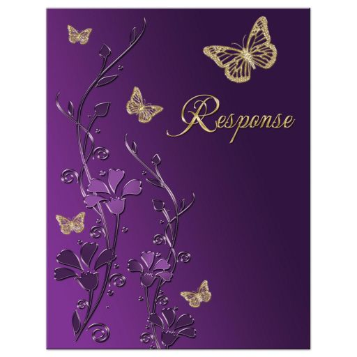 Best purple and gold floral Bat Mitzvah response card or enclosure card with gold butterflies on it.