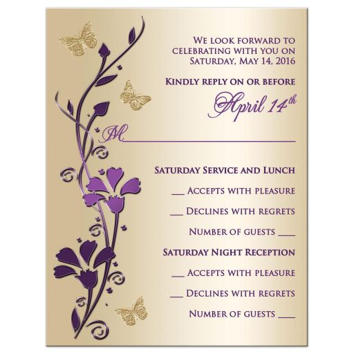Great purple and taupe gold floral Bat Mitzvah rsvp card or enclosure card with gold butterflies on it.