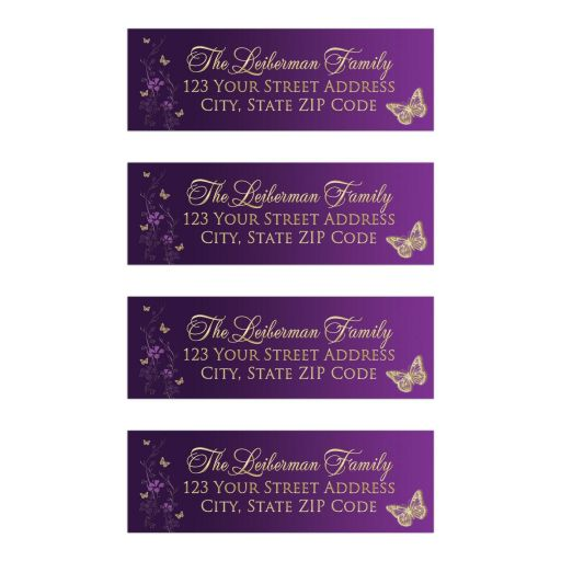 Great personalized purple and gold Bat Mitzvah return address labels with metallic look flowers and gold butterflies.
