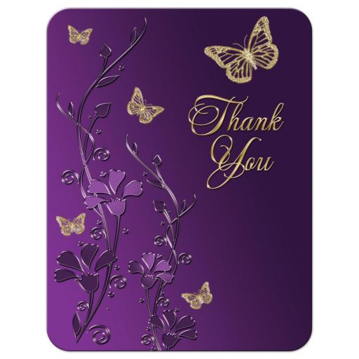 Best affordable purple and gold floral Bat Mitzvah thank you card with gold butterflies on it.