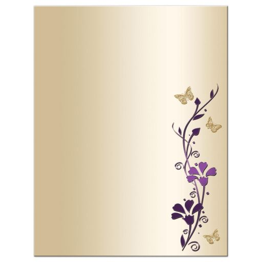 Great affordable purple and gold floral Bat Mitzvah thank you card with gold butterflies on it.