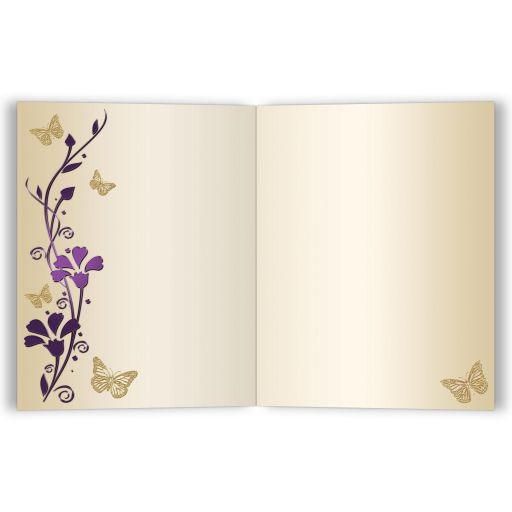Great purple and gold floral Bat Mitzvah thank you card with gold butterflies and Jewish Star of David on it.
