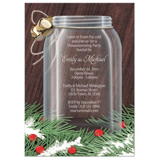 Housewarming Invitations - Winter Mason Jar Pine Boughs