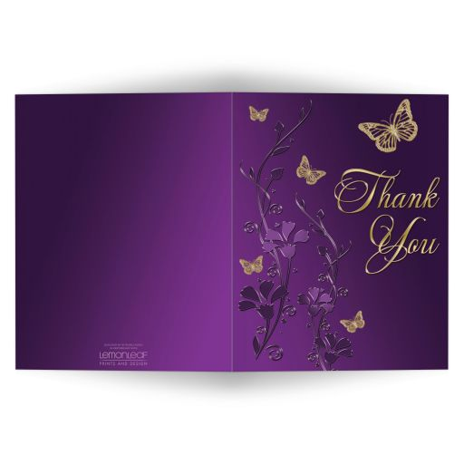 ​Best purple and gold floral Bat Mitzvah thank you card with gold butterflies on it.