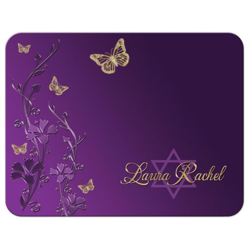 Best personalized purple and gold floral Bat Mitzvah note card with gold butterflies and Jewish Star of David on it.