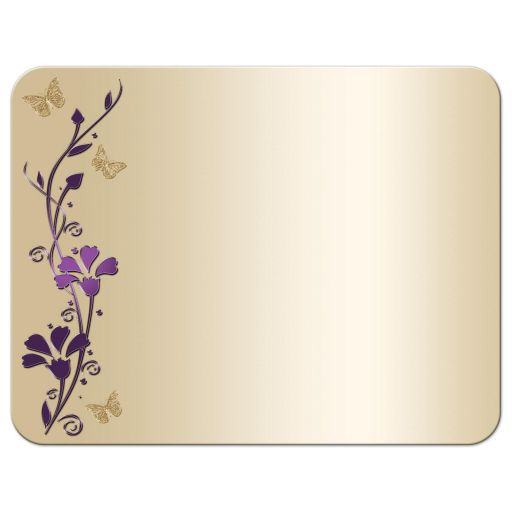 great personalized purple and gold floral Bat Mitzvah thank you card with gold butterflies and Jewish Star of David on it.