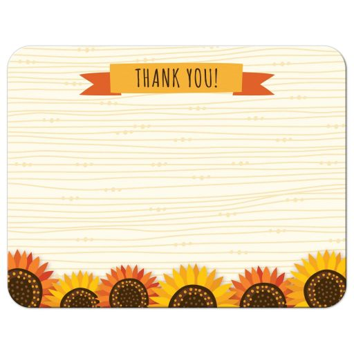 Whimsical sunflowers on abstract wood cute fall wedding thank you note card
