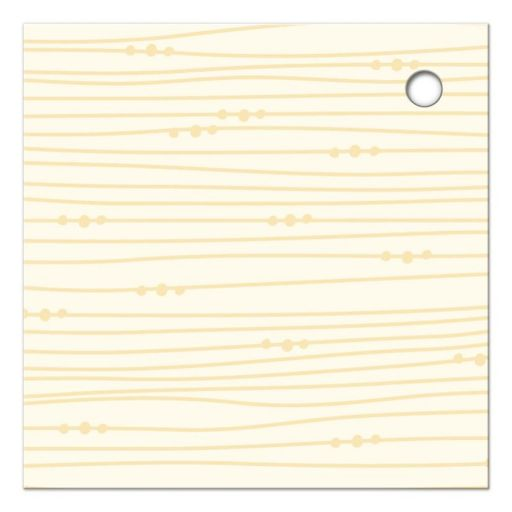 Abstract, soft yellow woodgrain. Back of whimsical sunflowers favor tag.