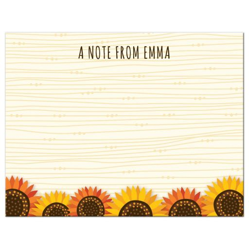 Whimsical yellow and orange sunflower border personalized name flat notecard