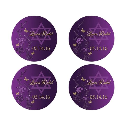 Great personalized purple and gold floral Bat Mitzvah favor stickers or envelope seals with gold butterflies and Jewish Star of David on it.