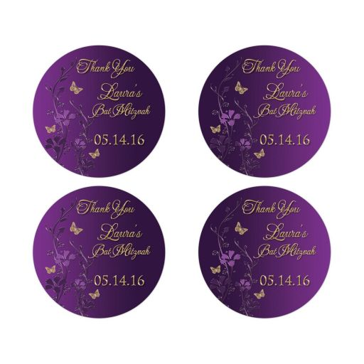 Great personalized purple and gold floral Bat Mitzvah party favor thank you stickers with gold butterflies.