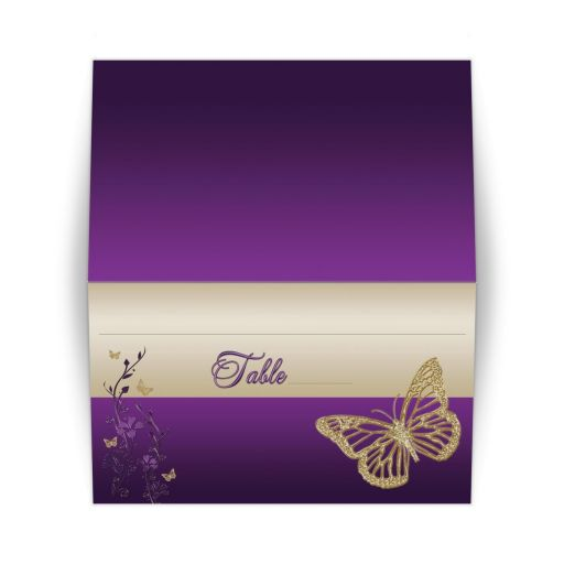 ​Best purple and gold floral Bat Mitzvah place cards or escort cards with gold glitter butterflies.
