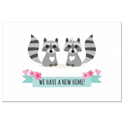Cute raccoon boy and girl new address moving announcement postcard