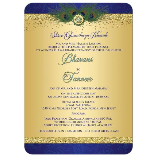 ​Best Indian wedding invitation in royal blue and gold glitter peacock feathers and Hindu god Ganesh.