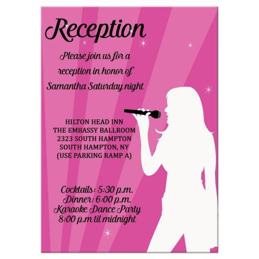Karaoke singer dance party Bat Mitzvah / Birthday Accommodations Reception enclosure card