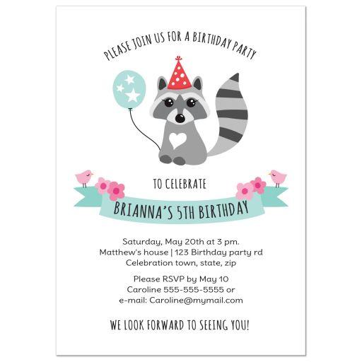 Cute raccoon woodland birthday party invite