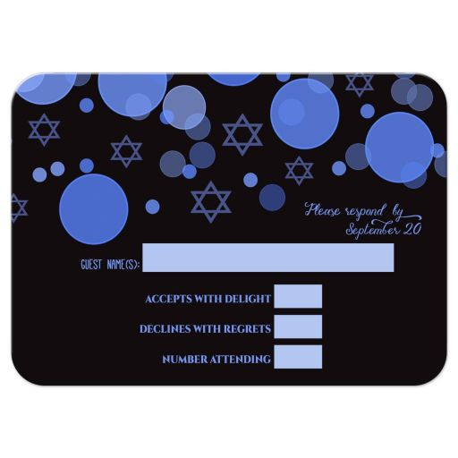 Star of David Blue Bokeh Lights Bar Mitzvah Response Card