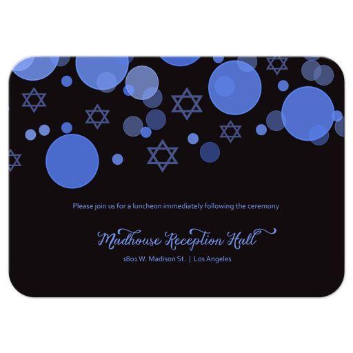 Star of David Blue Bokeh Lights Bar Mitzvah Reception Card