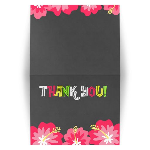 Luau hibiscus flower chalkboard folded Thank you note card