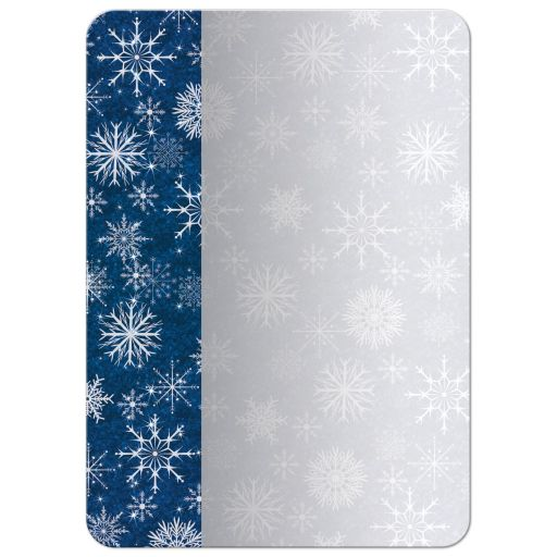 Great royal blue and silver grey snowflakes hanukkah party invite with silver star of david.