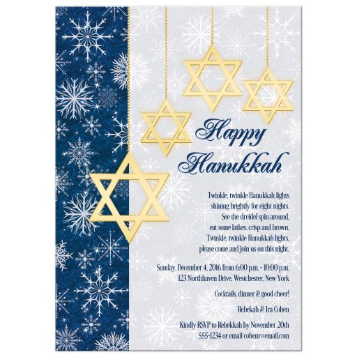 Best royal blue, gold and white snowflakes Hanukkah party invitation with hanging Star of David ornaments.