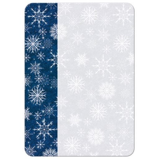 Great royal blue, gold and white snowflakes Hanukkah party invitation with hanging Star of David ornaments.
