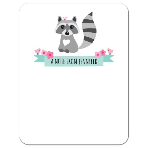 Cute personalized notecard with sweet raccoon illustration and aqua blue ribbon banner.