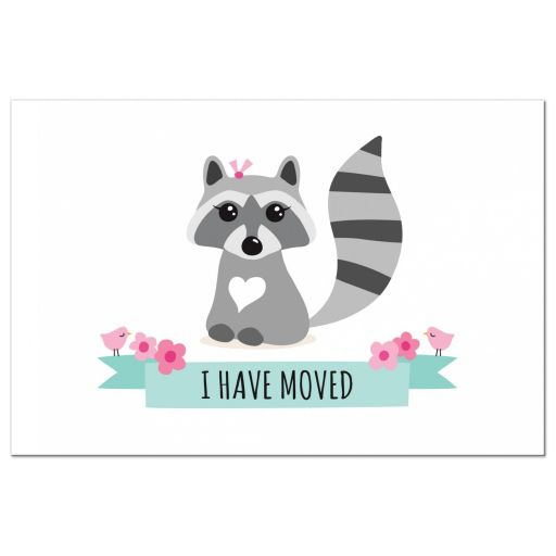 Cute raccoon I have moved moving announcement postcard